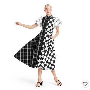 Christopher John Rogers Checkerboard Puff Sleeve